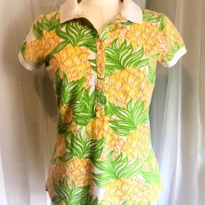 Lilly Pulitzer Pineapple Polo Top sz Med